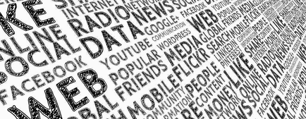 Schlagwörter in Schawrz und Weiss rund um Internet